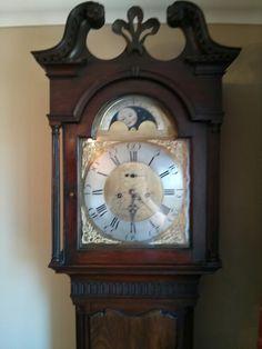 George III mahogany longcase/grandfather clock with moon phases. Signed: John Knox, Larne.