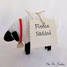 Fleece Navidad Christmas Sheep - Wish someone a merry Christmas with these cute Christmas sheep.