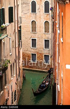 D49NX8 : Rights Managed stock photo | Alamy Gondola with tourists on small canal in Sestiere San Marco, Venice, Italy.
