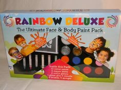 """Rainbow Deluxe Face & Body Paint - Ultimate Professional Water Based Party Pack for Kids and Adults - Kit Include Non Toxic Stencils, Glitter, Crayons and More - Free """"How To.."""" Guide with Templates, Exclusive Colouring Chart and 2 Year Guarantee Deluxe - Faces,http://www.amazon.com/dp/B00GTOJ6OM/ref=cm_sw_r_pi_dp_EJtrtb0CTF2E0YVA"""