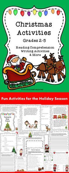 Christmas Activities - Reading Comprehension, Writing Activities, and MORE! #Christmas Language Arts # TPT #Christmas