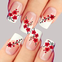 Nail art is a very popular trend these days and every woman you meet seems to have beautiful nails. It used to be that women would just go get a manicure or pedicure to get their nails trimmed and shaped with just a few coats of plain nail polish. Rose Nail Art, Rose Nails, Flower Nail Art, Cherry Nail Art, Nail Flowers, Flower Nail Designs, French Nail Designs, Simple Nail Art Designs, Beautiful Nail Designs