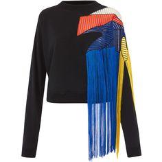 Christopher Kane Black Fringe Panelled Sweatshirt (£595) ❤ liked on Polyvore featuring tops, hoodies, sweatshirts, cropped tops, crew neck sweatshirts, christopher kane sweatshirt, fringe top and long sleeve crop top