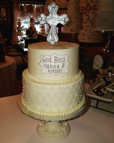 Buttercream communion cakewww.facebook.com #carinaedolce    www.carinaedolce.com Communion, Blessed, Cakes, Facebook, Desserts, Food, Meal, Deserts, Essen