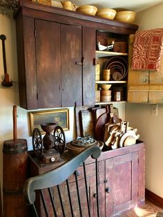 Red cupboard and dry sink