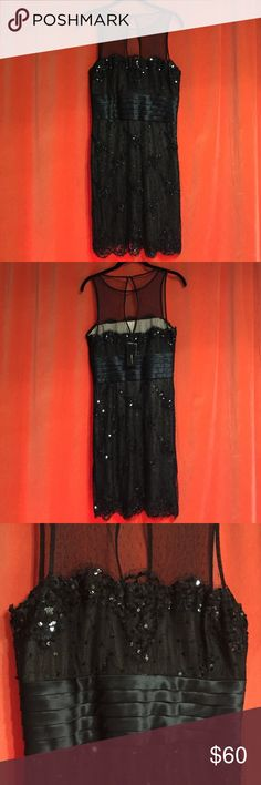 BCBG Maxazria Dress Size 8. - NWT Stunning BCBG Maxazria Dress Size 8. - NWT it's a great dress for a wedding, special event or just to go to a party!!!  It has a sheer top, sequence and a satin gathering around the waste.  You'd love it! BCBGMaxAzria Dresses Midi