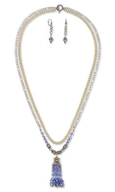 """Double-Strand Necklace and Earring Set with SWAROVSKI ELEMENTS, Antiqued Gold- and Silver-Finished """"Pewter"""" Bead Caps and Antiqued Silver-Finished Brass Bead Caps"""