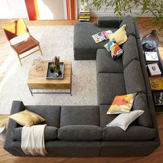 Apartment Living Room Sectional Small Spaces Rugs 21 New Ideas Living Room Sofa Design, Family Room Design, New Living Room, Living Room Designs, Living Room Decor, Corner Sofa Living Room Layout, Living Room Couches, Corner Sofa Design, Corner Couch