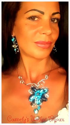 https://flic.kr/p/wZHPSG | Untitled | BEAUTIFUL PATRICIA and CAMELYS UNIKAT BIJOUX with BLUE NIGHT Set – Wire Sculpture Necklace and Earrings , made from  crystals, hand painted black and blue stones ,TURQUOISE, filigree aluminium wire and silver plated wire and accesories; Order Or More Products On www.facebook.com/unikat.bijou.handmade.Camely, and on www.etsy.com/your/shops/CamelysUnikatBijou