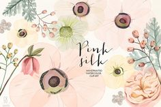 Watercolor pink silk flowers by GrafikBoutique on @creativemarket
