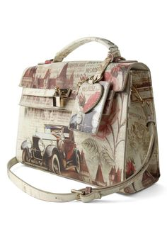adorable purse with vintage drawings