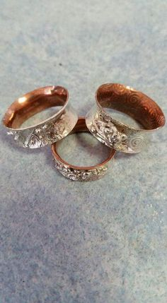 Sterling silver copper bonded reticulated ring $70.00