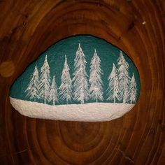 Snow Cover Pines. Painted Rock.