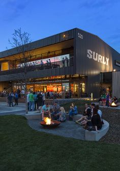 The Surly Destination Brewery and Beer Gardens (SDBBG) combine a beer hall, brewery, and extensive gardens into an existing industrial Landscape Architecture, Landscape Design, Restaurant Exterior Design, Brewery Interior, Brewery Design, Warehouse Design, Brew Pub, Tap Room, Metal Buildings
