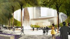 The Public Square will provide a dramatically landscaped destination and will play host to world-class art and events. It will serve as the heart of Hudson Yards' new retail, residential, commercial and cultural destinations. A central plaza combines the grandeur of pleached trees, interactive water features and a monumental sculpture. The bold, seasonally expressive horticulture will dazzle New Yorkers throughout the year. Public Square, Ellipse Summer, ©Nelson Byrd Woltz - 10/2012