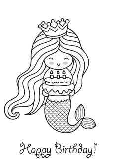 Coloring Birthday Cards, Birthday Cards To Print, Happy Birthday Coloring Pages, Free Printable Birthday Cards, Birthday Card Template, Girl Birthday Cards, Mermaid Happy Birthday, Happy Birthday Grandma, Happy Birthday Fun