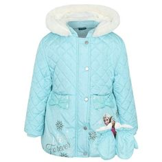 Girls Disney Frozen Padded Coat & Mittens