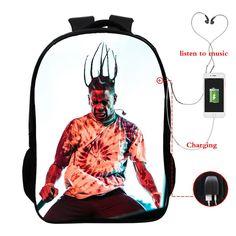 Travis Scott Full Printed School Backpack Book Bag With USA Charging Port Travis Scott Merch, Shirt Hoodies, T Shirt, School Backpacks, Trendy Outfits, Sweatpants, 3d, Printed, Easy