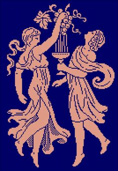 Empire dancers   Chart for cross stitch or filet crochet.