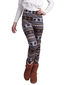HDE Women Winter Knit Leggings Fleece Line Nordic Design Thermal Insulated Pants Chocolate Reindeer Large >>> Be sure to check out this awesome product.