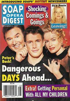 Joseph Mascolo, Jason Brooks, & Eileen Davidson (Stefano, Peter, & Kristen #DAYS) 12/7/97 http://classicsodcovers.tumblr.com/