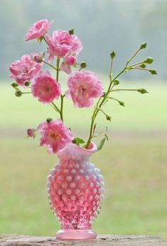 Pink Fenton Hobnail Milk Glass Vase with Pink Flowers ....
