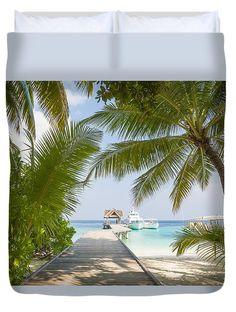 Welcome To Paradise Island Duvet Cover by Yana Reint #YanaReintFineArtPhotography #FineArt #Pillow #DuvetCover #Homedecor #Artforhome #Maldives #ocean #Island