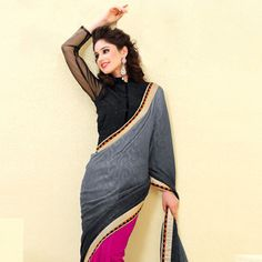 Grey Faux Chiffon Jacquard and Faux Georgette Saree with Blouse