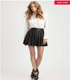 Brand New Alice & Oliva Box Pleated Leather Skirt Black