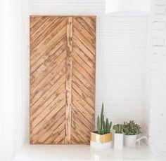 Reclaimed wood chevron pattern wall art. Can by AdriftInMyMind