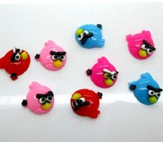 10 Mixed Resin Angry Birds Flatback by creationandsupplies on Etsy, $2.50