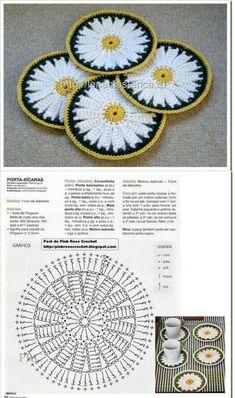 Crochet pansy flower by auntie cosmos salvabrani Crochet Coaster Pattern, Crochet Borders, Crochet Flower Patterns, Crochet Diagram, Crochet Stitches Patterns, Crochet Chart, Crochet Squares, Crochet Motif, Crochet Designs