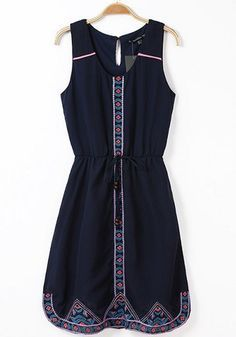0605da0a421e6 SHEIN offers Navy Sleeveless Drawstring Embroidered Chiffon Dress   more to  fit your fashionable needs.