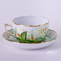 FB Tea Cup with Saucer 20724-0-00 FSB Strawberry decor. Herend porcelain hand painted