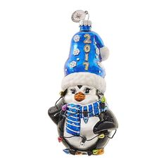 Celebrations by Radko Glass Figure - Dated Penguin with Lights Merry Christmas 2017, Blue Christmas, Christmas Holidays, Christmas Tree, Christmas Ornaments, Christmas String Lights, Glass Ornaments, Penguins, Thrifting