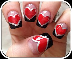 Red Heart French Nails... Makes me think of Alice in Wonderland - Queen of Hearts