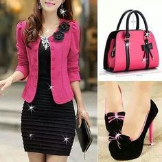 Vestido negro, saco rosa, bolsa rosa con negro ♥