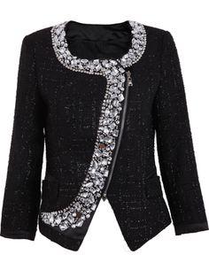 Rhinestone Zipper Jacket
