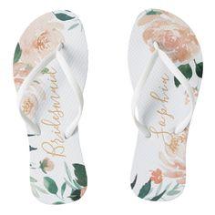 20f4dbd3b53b46 Personalized peach watercolor floral bridesmaid flip flops