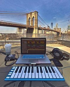 The perfect spot to work on a song bridge. Home Studio, Recording Studio Home, Icon Pack, Tower Bridge, Brooklyn Bridge, Sports And Politics, Graphic Design, Songs, Travel