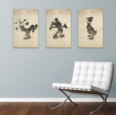 Disney Inspired Silhouettes: Mickey, Donald, Goofy (3) 11X17 Art Prints, With Heart Studios - Vintage, Gift, Posters. $60.00, via Etsy.