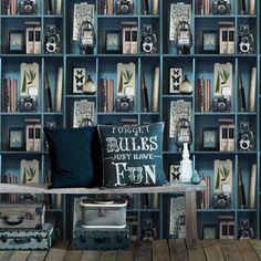 papier_peint_intisse_cabinet_de_curiosite_bleu