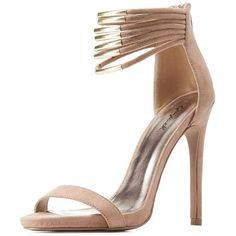 Qupid Gold-Plated Strappy Ankle Cuff Heels ($39) ❤ liked on Polyvore featuring shoes, sandals, qupid shoes, heeled sandals, single strap sandals, strappy heel sandals and sexy sandals