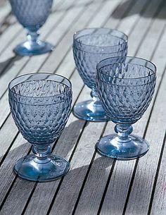 "Villeroy and Boch blue ""Boston"" glasses"