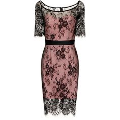 Black and Pink Lace Overlay Dress (£58) ❤ liked on Polyvore featuring dresses, scalloped dress, overlay dress, special occasion dresses, cocktail dresses and bodycon dress