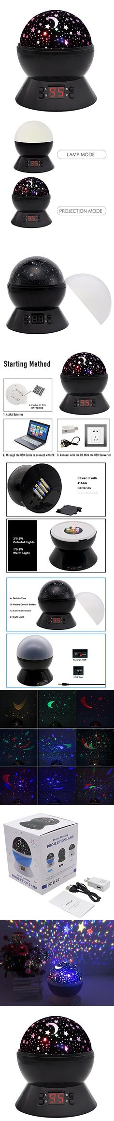 [UPGRADE] MOKOQI Modern Rotating Moon Sky Projection LED Night Lights Toys Table Lamps with Timer Shut Off & Color Changing For Baby Girls Boys Bedroom Christmas Gift Baby Nursery Lights (Black)
