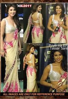 Priyanka Chopra Designer Cream COlor Net Wedding Wear Saree