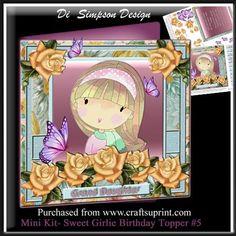 Mini Kit Sweet Girlie Birthday Topper 5 on Craftsuprint - Add To Basket!