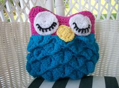 Small Sleeping Crochet Owl Pillow/Toy by TwoHootsCustomCrafts