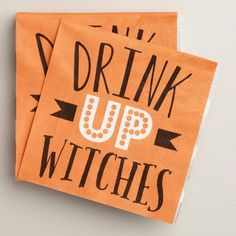 """With the cheeky phrase """"Drink Up Witches"""" on the front, our orange Halloween cocktail napkins are ideal for serving with your favorite cauldron drinks on eerie October nights."""